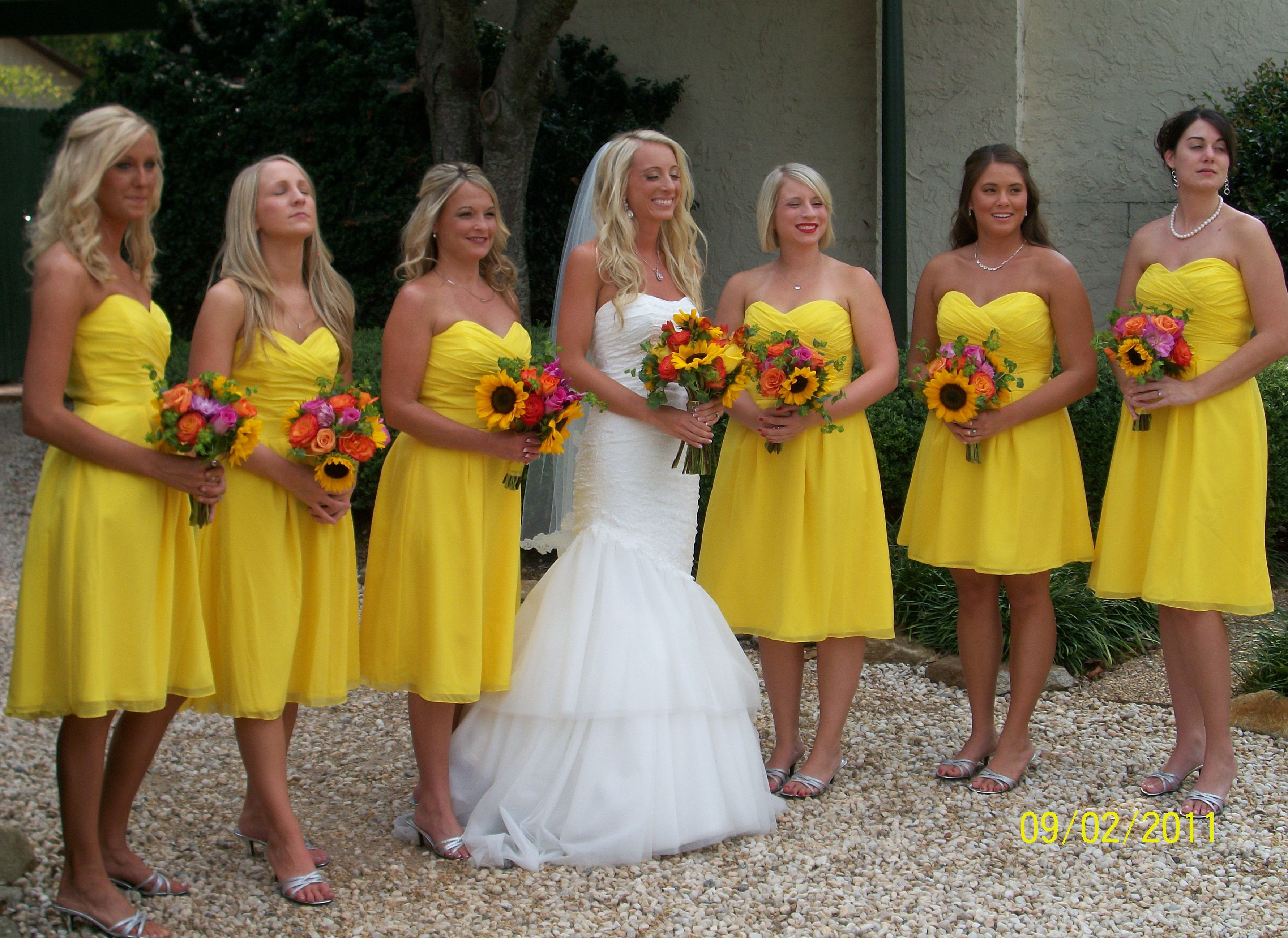 short bright yellow yellow bridesmaid dresses