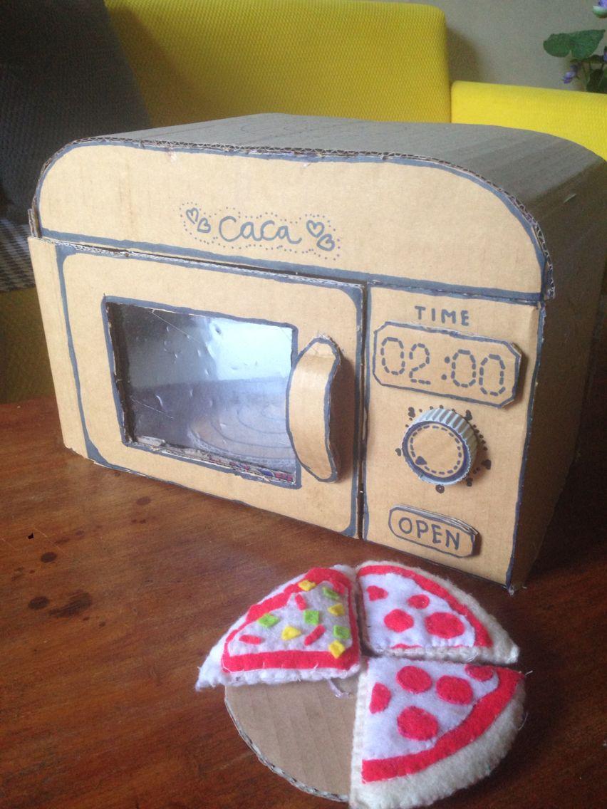 Cardboard Microwave With Images Cardboard Box Crafts Diy Kids