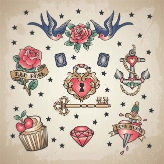 Vintage tattoo classic heart set vector