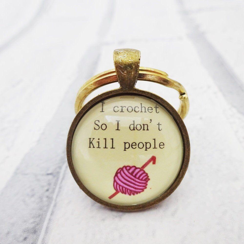 I crochet so I dont kill people key ring, crochet key fob