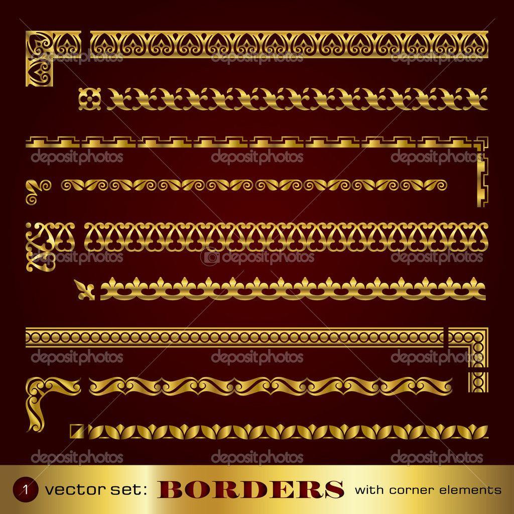 Fronteras con elementos angulares en oro - set 1 — Ilustración de ...
