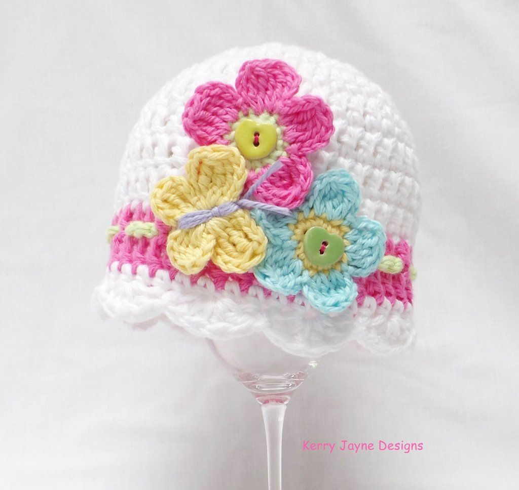 THE FLUTTERBY BABY HAT CROCHET PATTERN **Includes a beautiful close ...