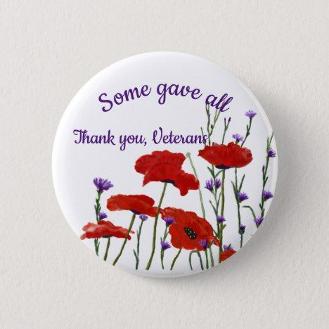 Memorial Day, Veterans Day Red Poppies Pinback Button | Zazzle.com