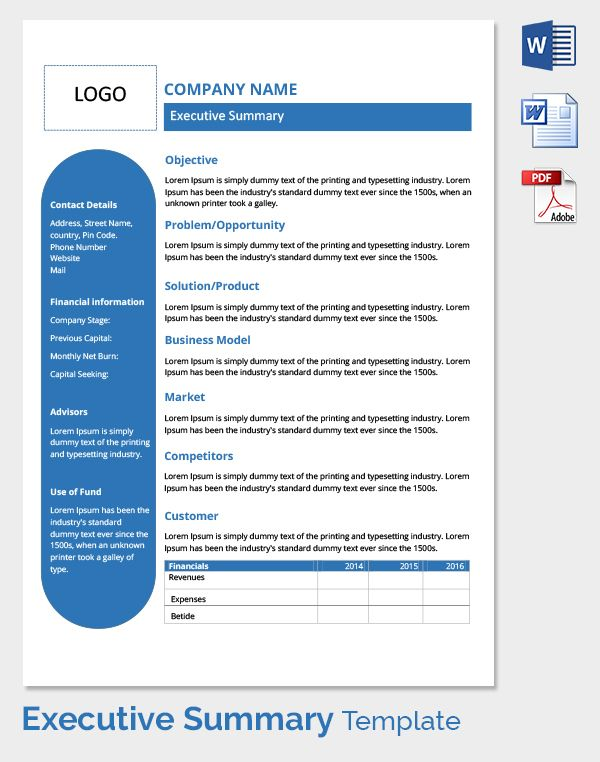 Executive Summary Template   Pinteres