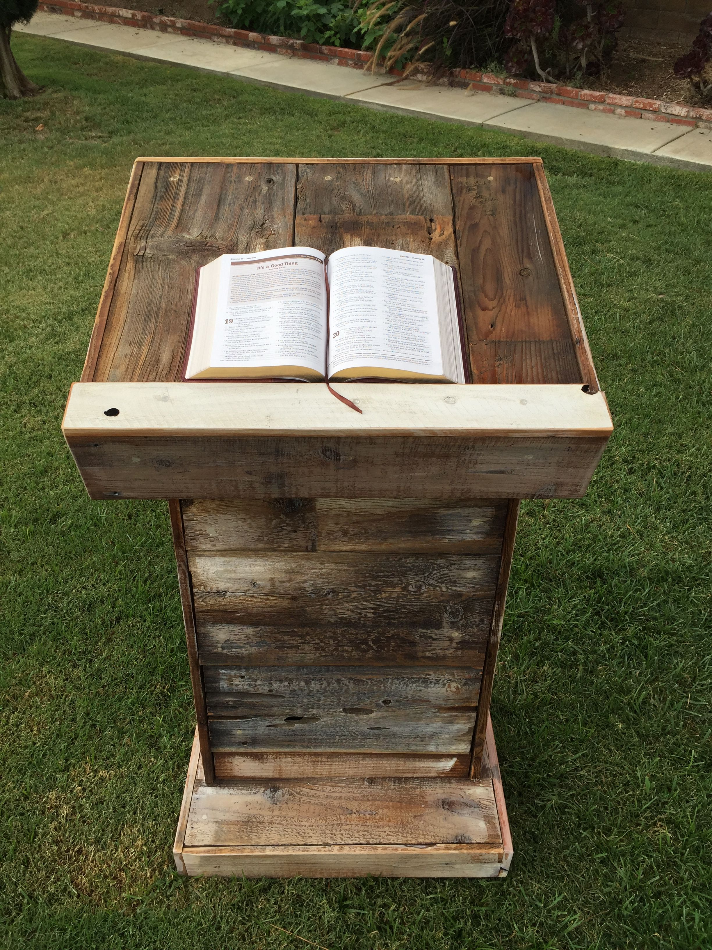 Made With Hardwood Solids With Cherry Veneers And Walnut: Custom Pulpit Made With Rustic Barn Wood.