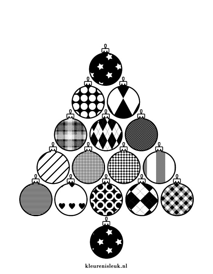 Kerstboom Van Kerstballen Kleurplaat Kerst Kleurenisleuk Nl