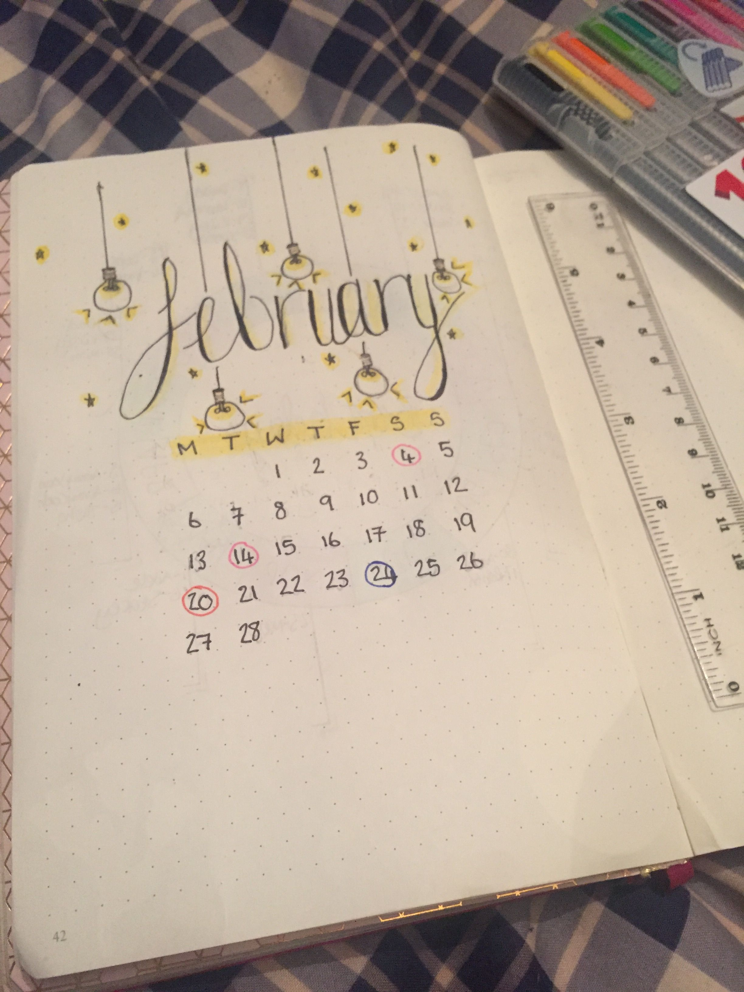 February Bullet Journal Calendar Ideas