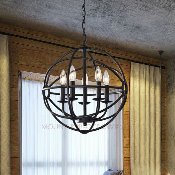 Modern Globe Chandelier 5 Light Orb Lighting Sphere Pendant Lamp Ceiling Fixture Chandeliers For Dining RoomChandelier