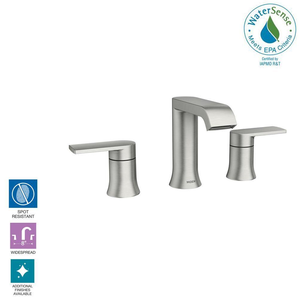 Moen Genta 8 In Widespread 2 Handle Bathroom Faucet In Spot Resist Brushed Nickel 84763srn The Home Depot Bathroom Faucets Moen Moen Bathroom Faucets