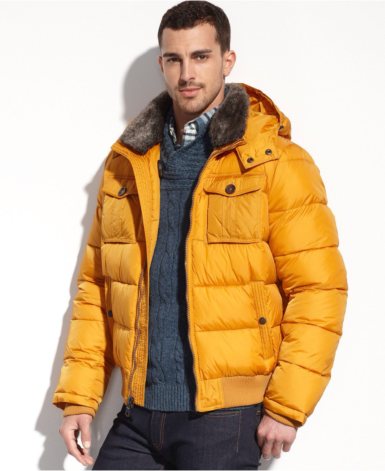 Tommy Hilfiger Jacket Faux Fur Trim Performance Puffer Jacket In