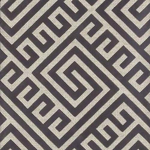 A Modern Heavyweight Upholstery Fabric In Contemporary Greek Key Pattern Of Charcoal Grey And Ivory This Is Suitable For Furniture