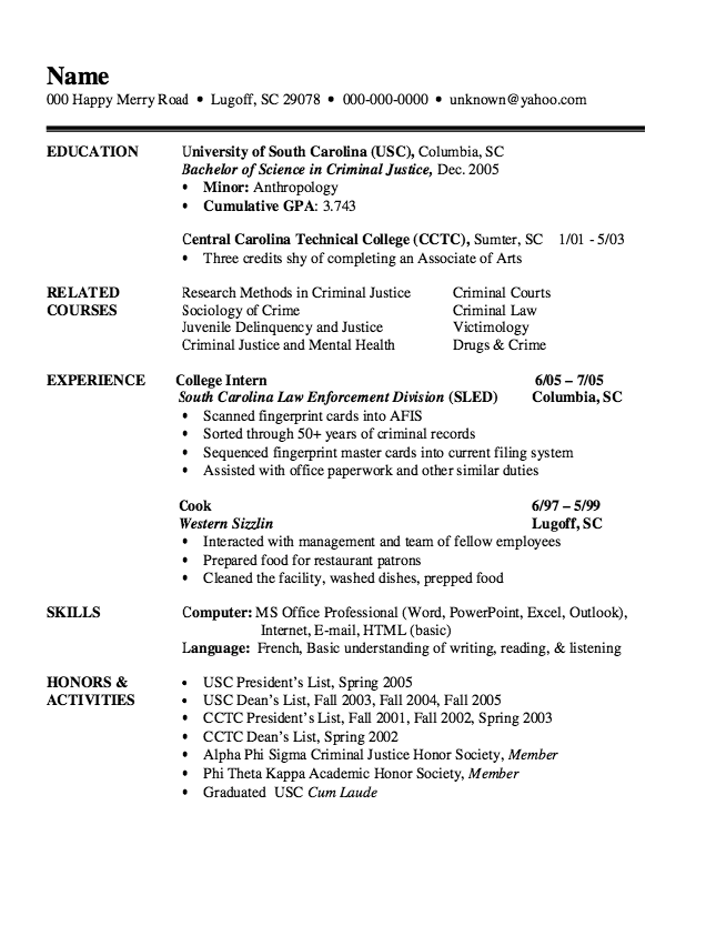 Example Of Criminal Justice Resume  HttpExampleresumecvOrg