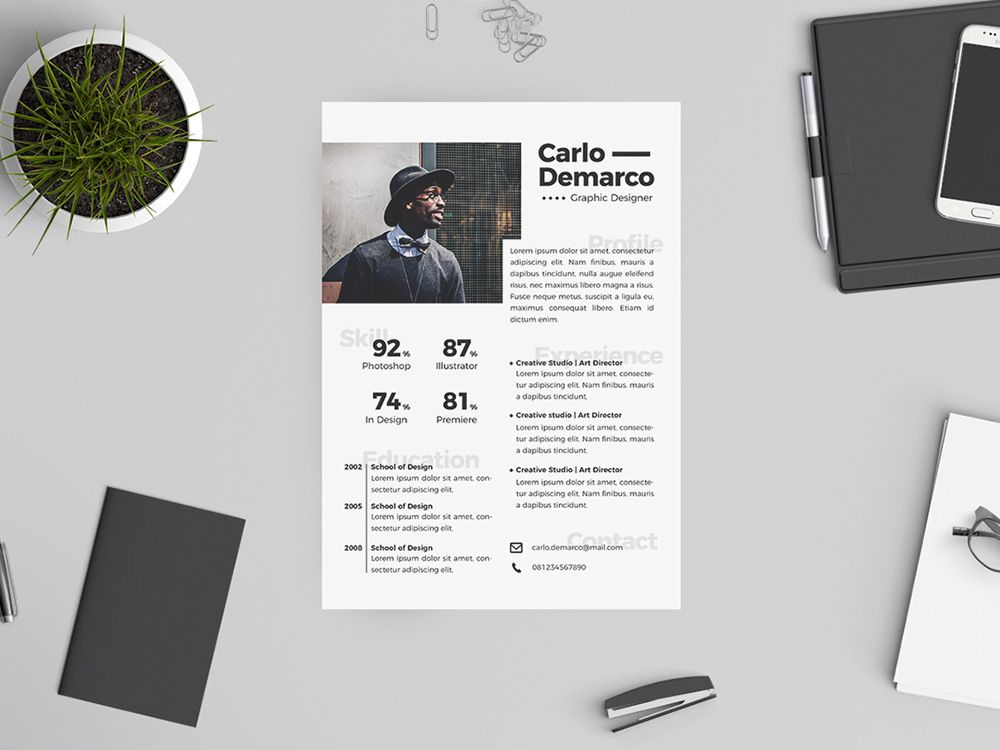 Free Hipster Resume Template with Attractive Design Free