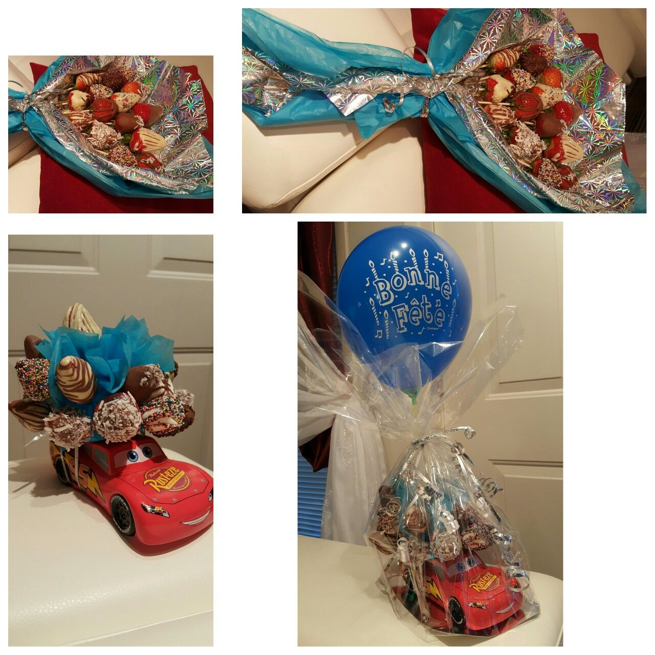 Tirelire pour enfant et bouquet  de fraises au chocolat.