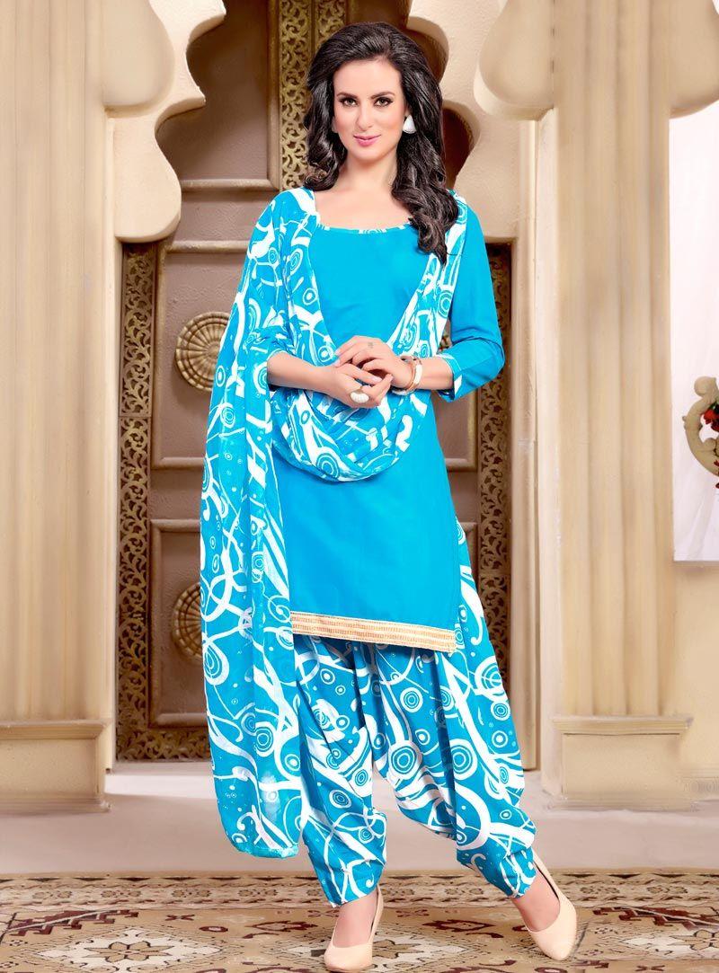 29372c2123 Sky Blue Cotton Printed Patiala Suit 90956 | Patiala Salwar Kameez ...