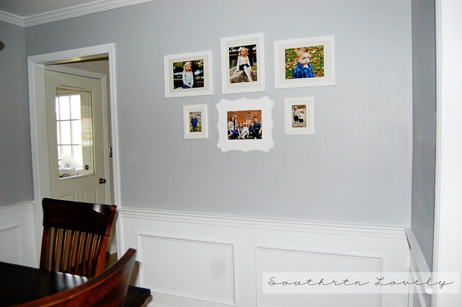 Pebble gray glidden southern lovely dining room reveal for Pictures of rooms painted gray