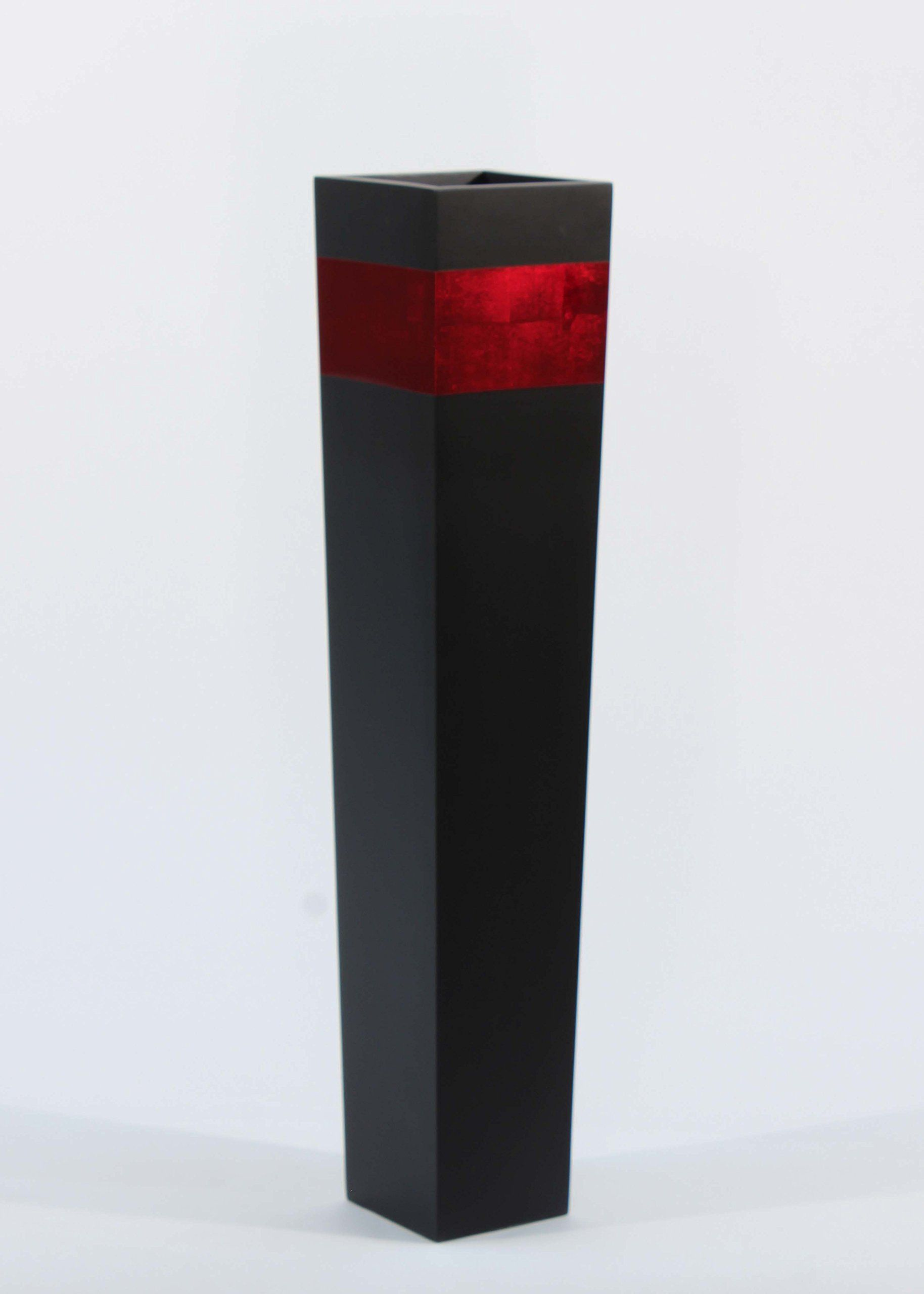Greenfloralcrafts 27 Slender Tapered Tall Black Floor Vase Red