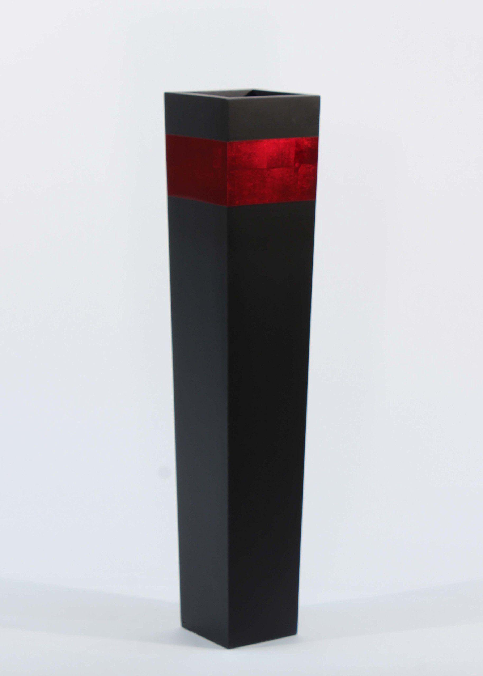 Greenfloralcrafts 27 Slender Tapered Tall Black Floor Vase Red