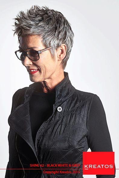 Kreatos Frisuren für Frauen 2015 – Black White & Grey – Haare kurz grau – #black #GREY #gri …
