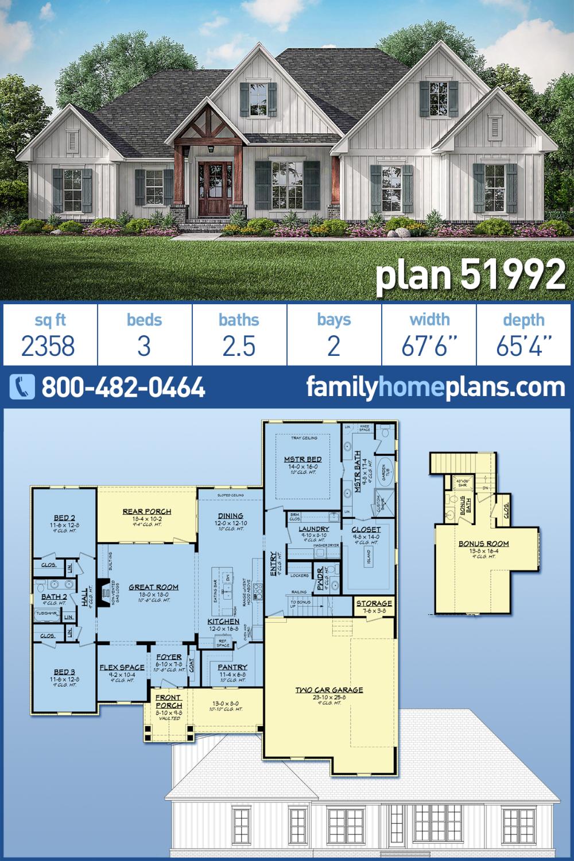 Photo of Modern Farmhouse Style House Plan 51992 with 3 Bed , 3 Bath , 2 Car Garage