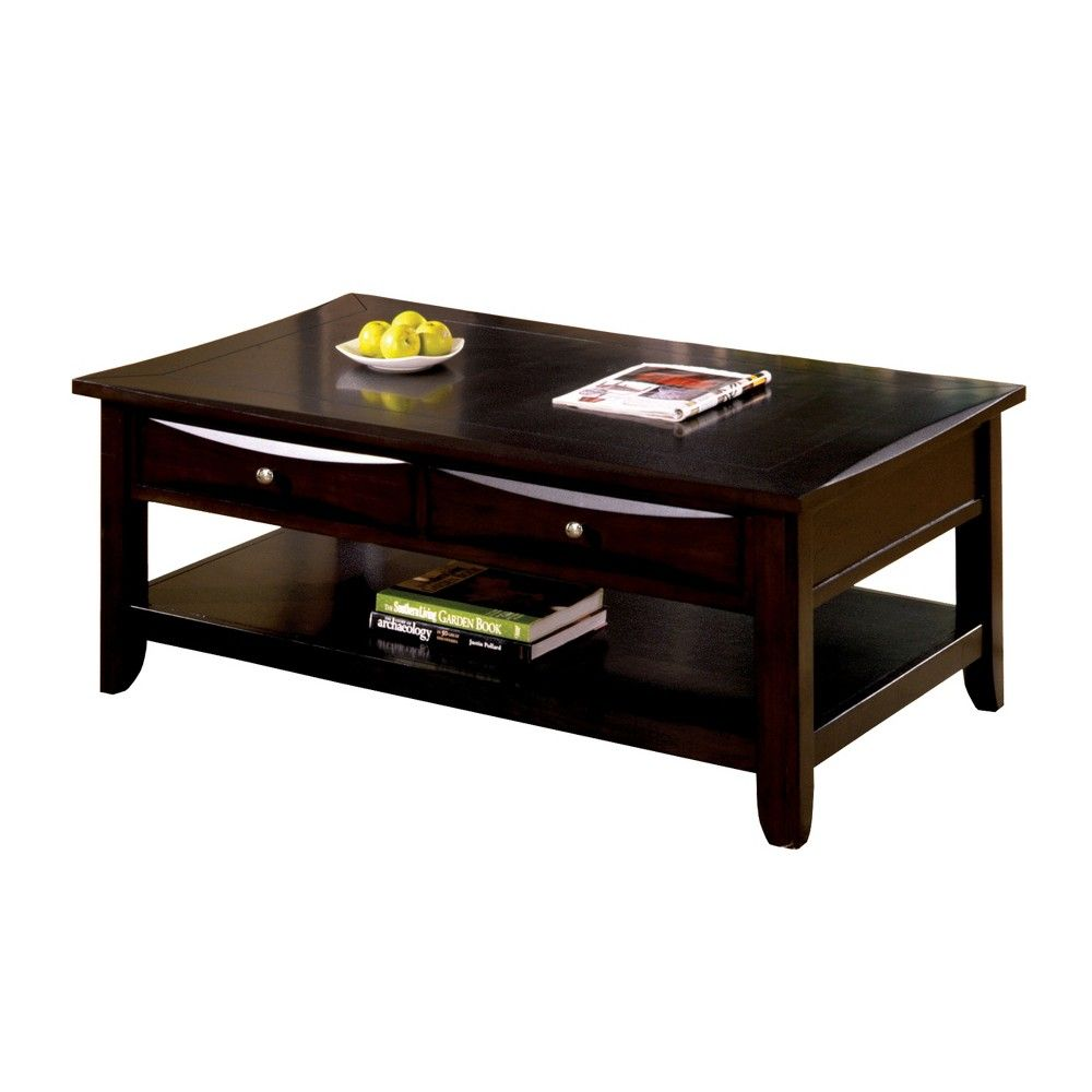 Langen Modern 2 Drawer Coffee Table Brown Homes Inside Out Coffee Table Furniture Transitional Coffee Tables [ 1000 x 1000 Pixel ]