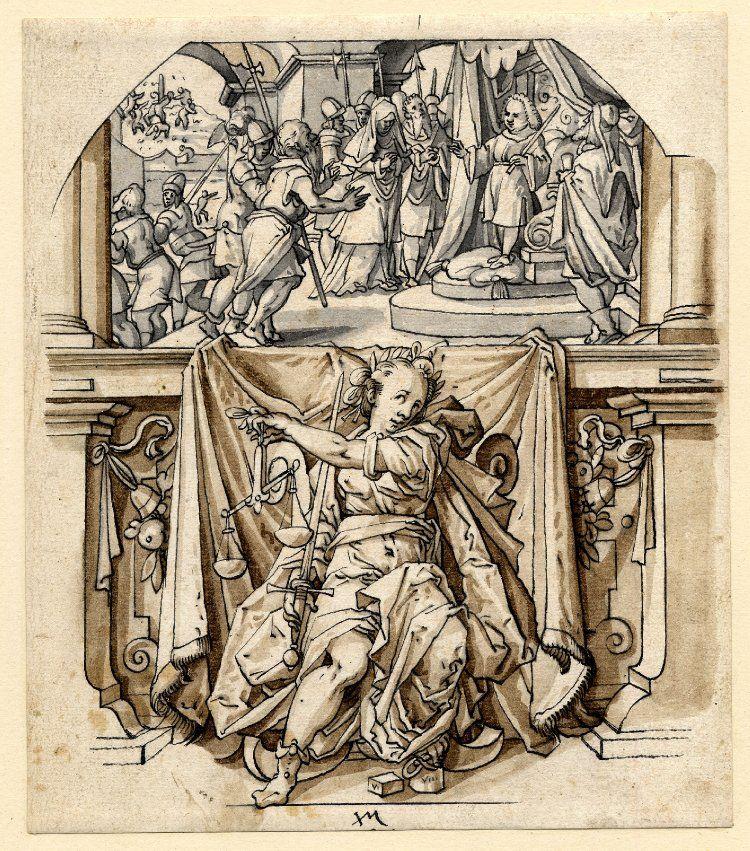 Virtudes Cardinales: Justicia. Jos Murer. 1545-1580. Tinta sobre papel. Museo Brtiánico.  Jorge García-Jurado.