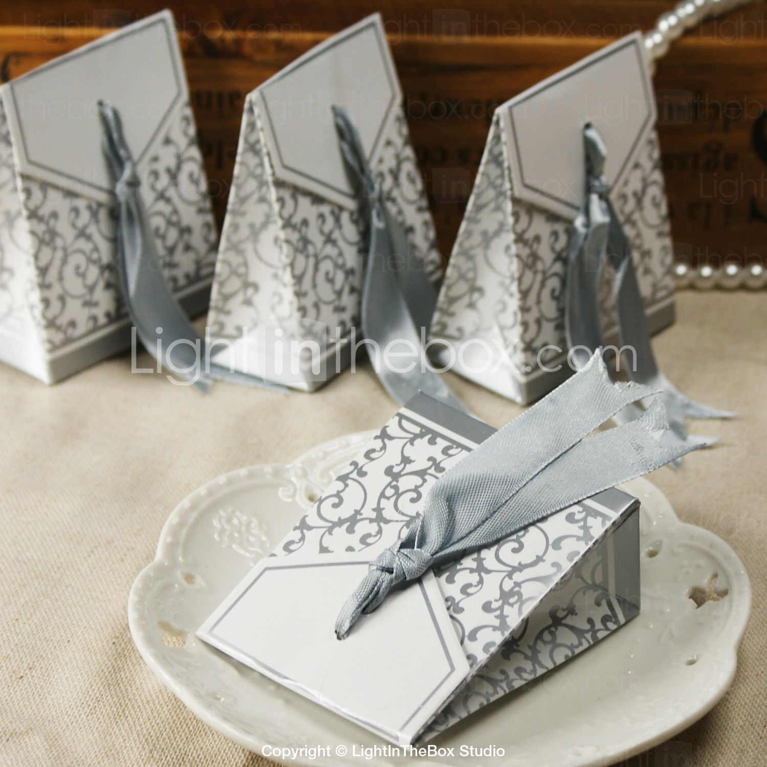 Creative Card Paper Favor Holder 53 Ribbons Favor Boxes-12 ...