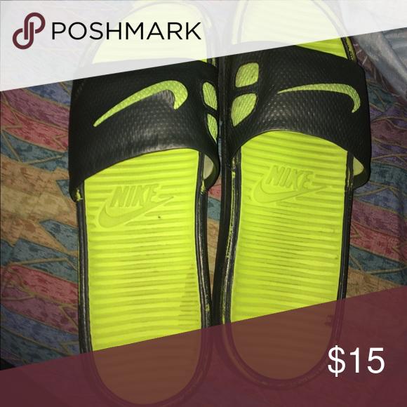 5c6edfbc315ad1 ... Nike Slides WORN Green Gray A little beat up😬 Green Grey Nike Brand  Nike Shoes ...