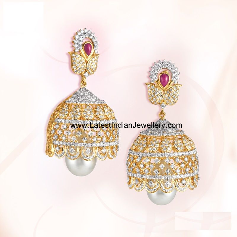 Diamond Jhumkas From Grt Jhumka Designs Diamond Jhumkas Designer Diamond Jewellery