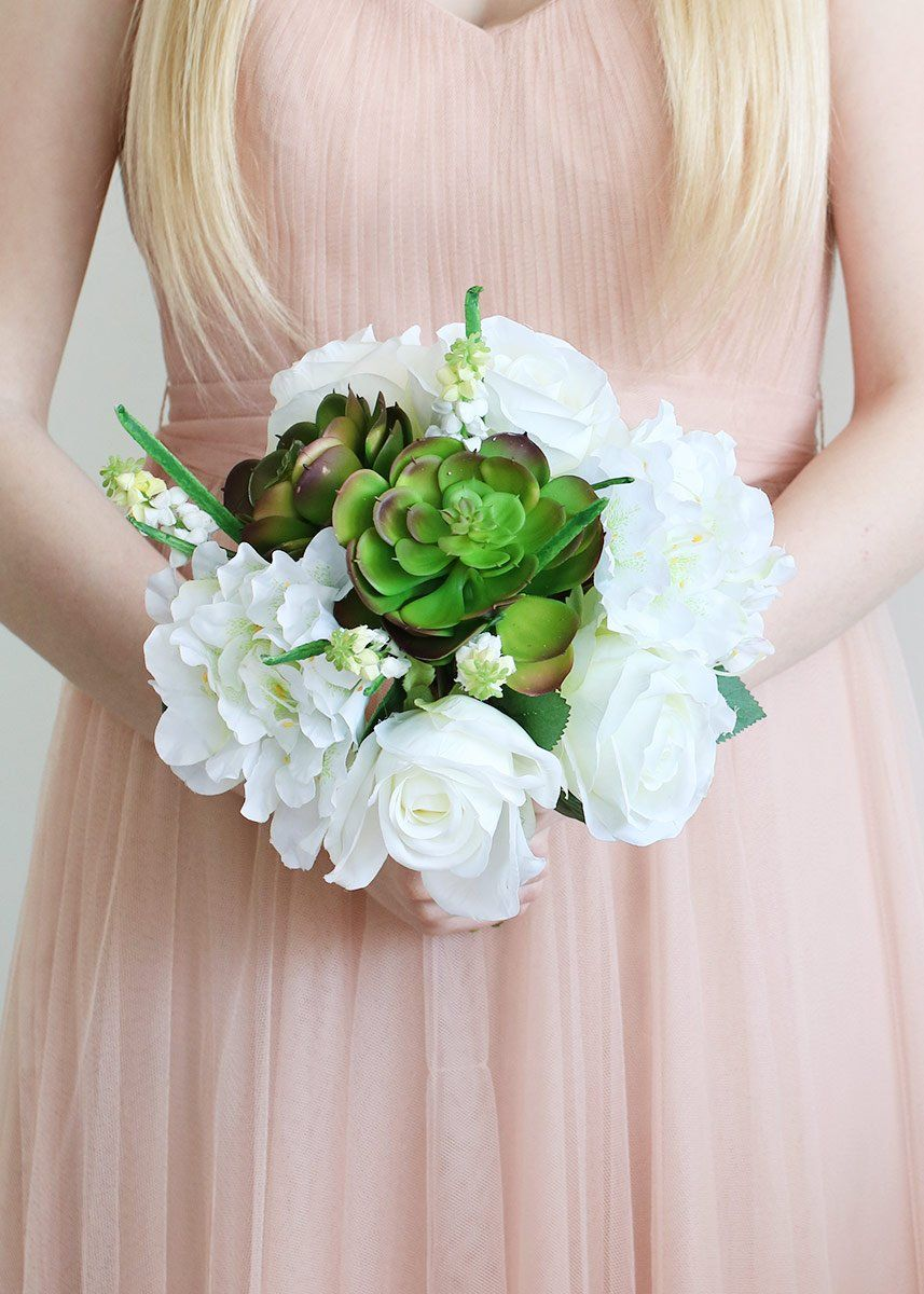 Artificial White Rhododendron & Succulent Wedding Bouquets