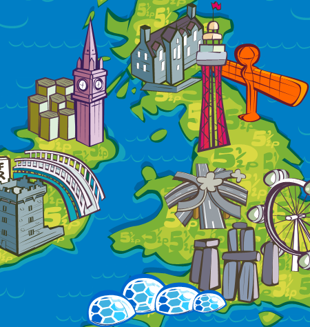 UK map with well known tourist attraction spots BT poster advert