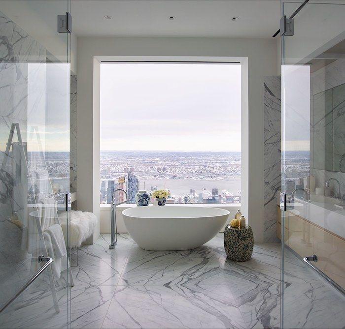deco salle de bain, vue du0027en haut, paroi en verre, comptoir blanc - salle de bain ardoise