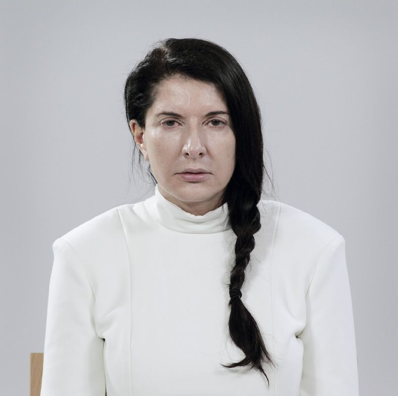 Marina Abramovic - white turtleneck Black hair in a single braid - möbel hesse küchen