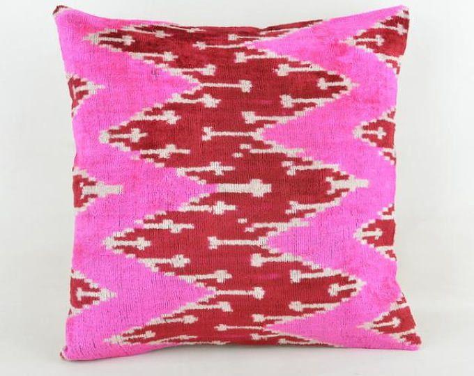 Ikat Velvet Pillow Silk Cousin From Uzbekistan 40X40 INCnc Cotton Stunning Cleaning Decorative Pillows