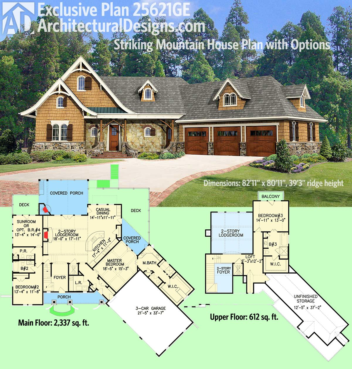 Plan 14632rk Rugged Craftsman With Room Over Garage: Plan 25621GE: Striking Mountain House Plan With Options In