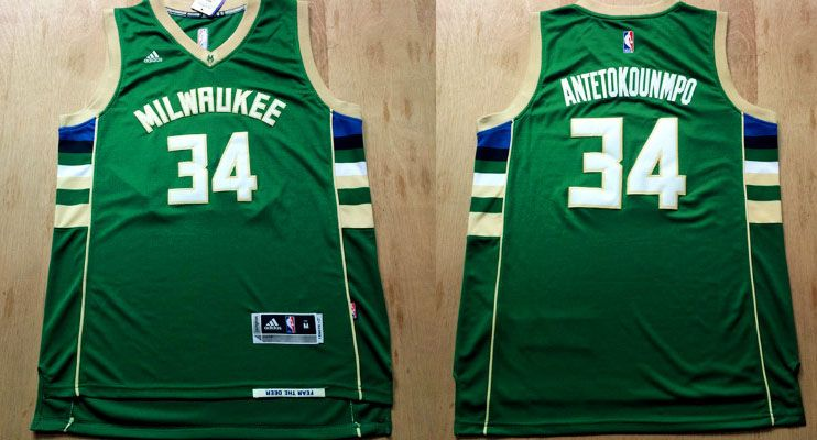 a301eee71f02 Milwaukee Bucks  34 Antetokounmpo Green Men 2017 New Logo NBA Adidas Jersey
