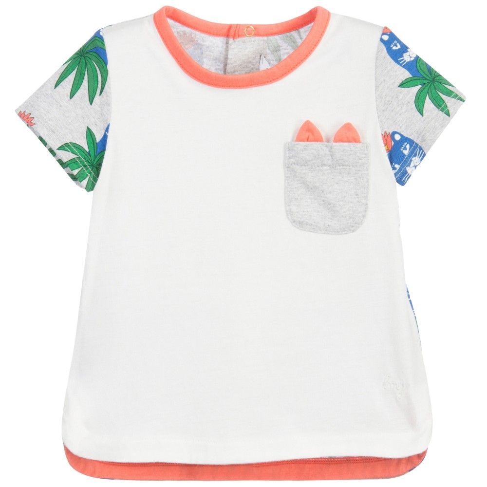 Baby girls 'Amazonia' jungle print t-shirt by Little Marc Jacobs. Made in soft cotton jersey, it has short sleeves and the ivory front has a grey chest pocket with 'ears'. It has contrasting trims in coral pink and a leopard jungle print on the back, with an embroidered logo on the hem.<br /> <ul> <li>50% modal, 50% cotton (soft jersey)</li> <li>Machine wash (30*C)</li> <li>Back popper fastening</li> <li>Designer colour: Rose/Grey</li> </ul>