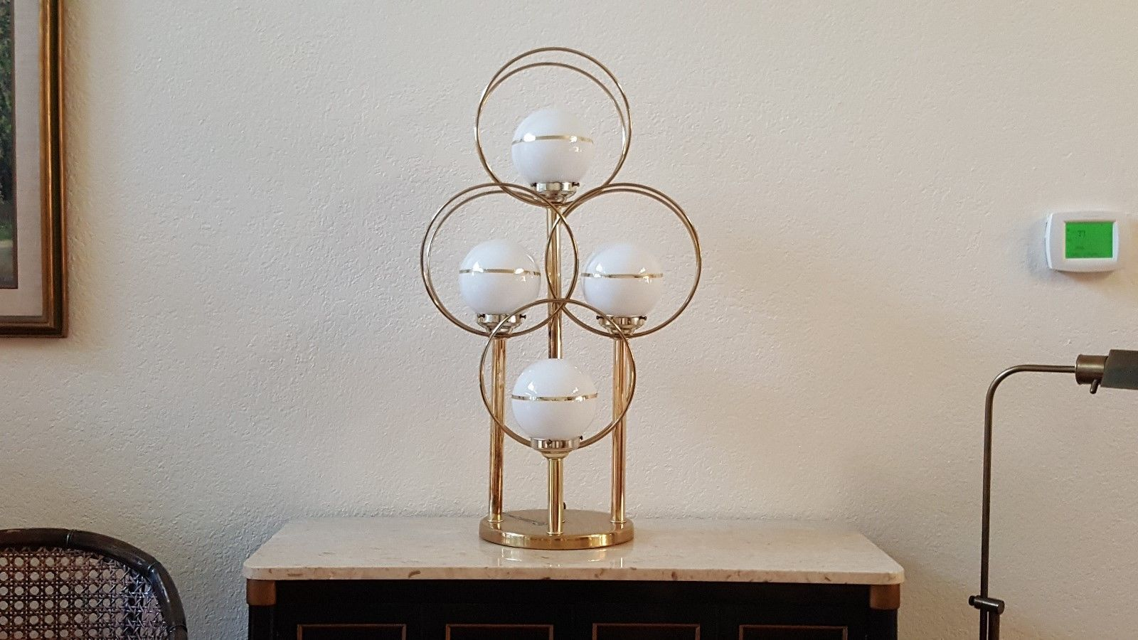 1970 S Mid Century Sonneman Brass Chrome Atomic Eyeball Orb Saturn Table Lamp In Antiques Periods Styles Mid Ce Mid Century Modern Table Lamps Sonneman Orb