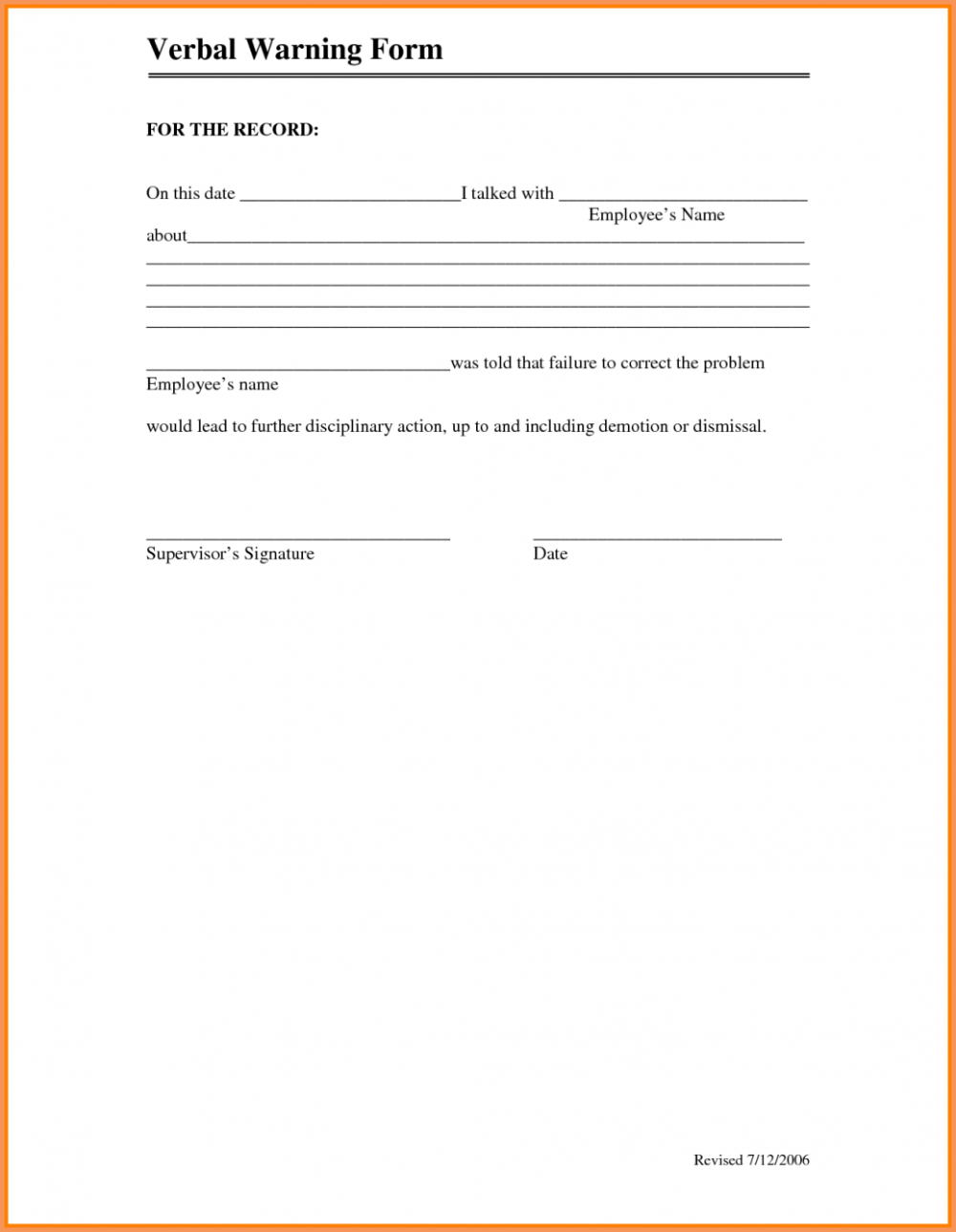 Employee Verbal Warning Form For Verbal Warning Form Form Templates Writing