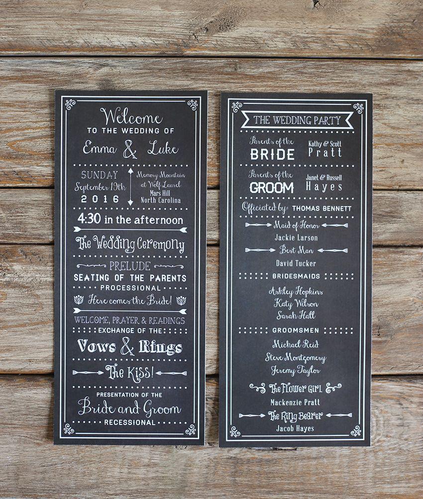 Chalkboard diy wedding program template check out this printable