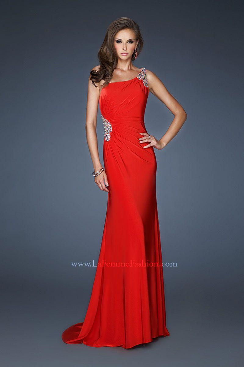 La femme oneshoulder in gorgeous red formalapproach la femme