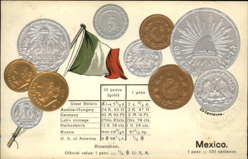 Mexico Centavos Pesos Money Currency C1910 Embossed Postcard Converter Old Postcards Gold Coins