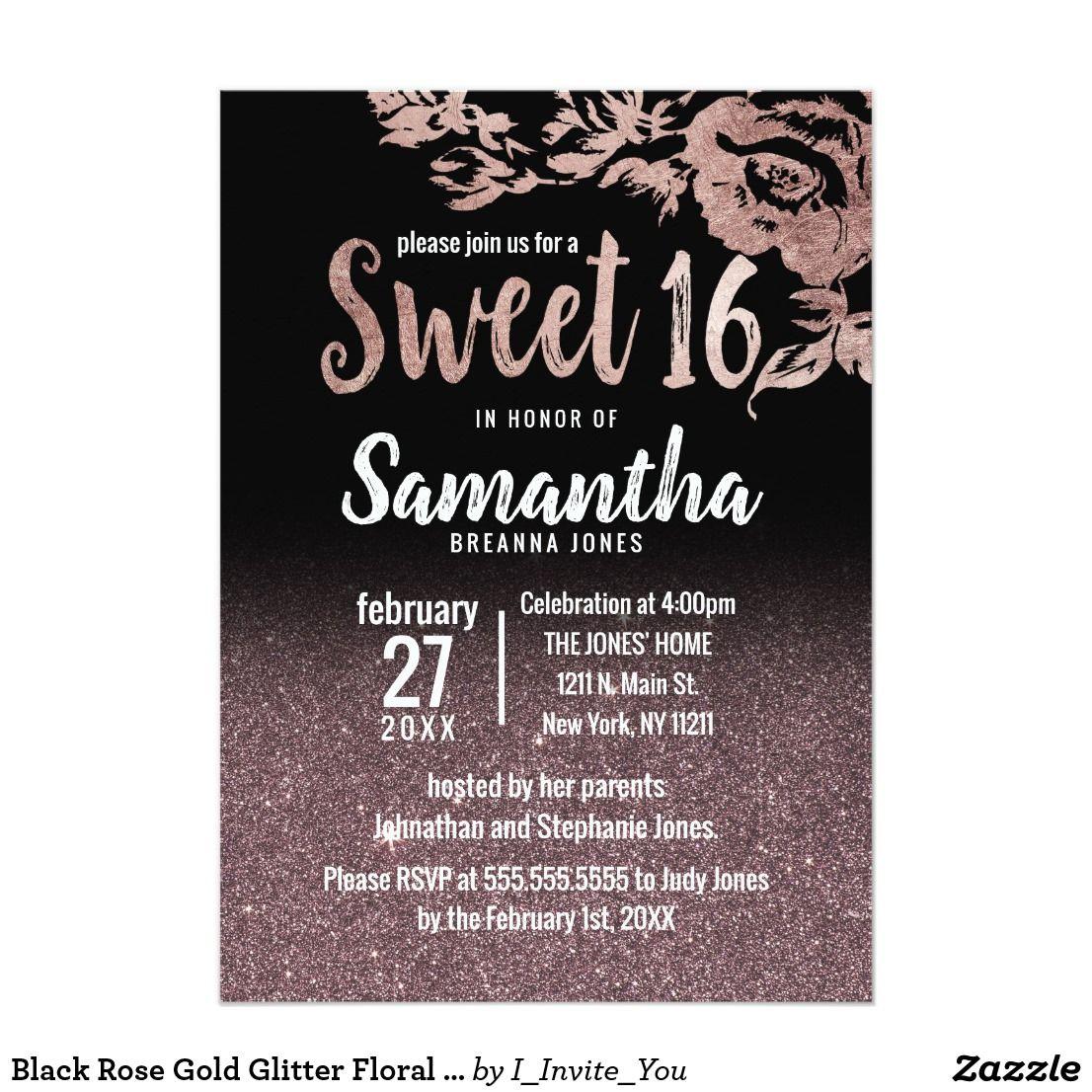 black rose gold glitter floral gradient sweet 16 invitation in 2018