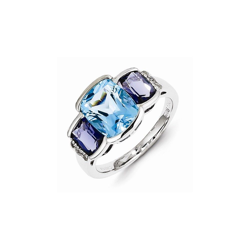 Sterling Silver Diamond and Swiss Blue Topaz, Iolite Ring – Goldia.com