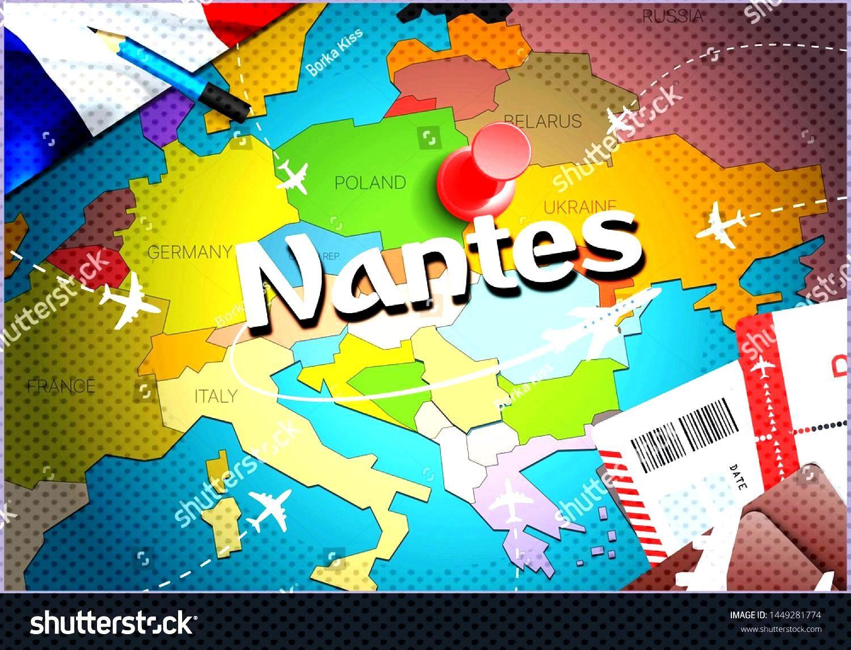 Nantes city travel and tourism destination concept. France flag and Nantes city on map. France trav