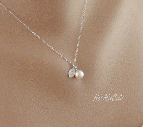 Silver monogram pendant necklace pearl initial leaf necklace charm silver monogram pendant necklace pearl initial leaf necklace charm jewelry child simple aloadofball Choice Image