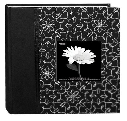 Pioneer 200 Pocket Black and White Fabric Frame Cover Photo Album Olivia -- Click image for more details.