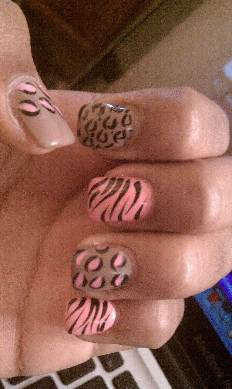 pink & tan animal print nail design