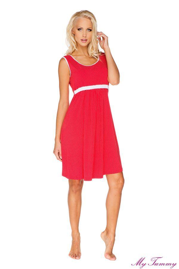 6d2316e17b92e6 Ciażowa koszula nocna Suzie czerwona | Bielizna ciążowa | Dresses ...
