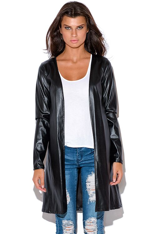 Cute cheap black perforated faux leather duster coat open jacket ...